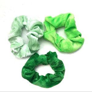 Accessories - Bundle of 3 Green Velvet Scrunchies Hair Ties